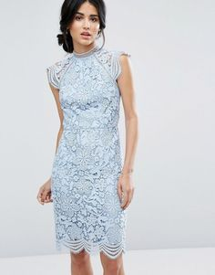 Scallop Lace Pencil Dress by Chi Chi London. Pencil dress by Chi Chi London, Lined crochet lace, Crew neckline, Cap sleeves, Scalloped hem, Kick split, Zip back c...