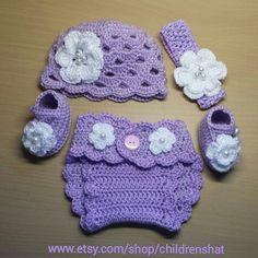 Mix and match Crochet baby girl set newborn girl by childrenshat, $21.00