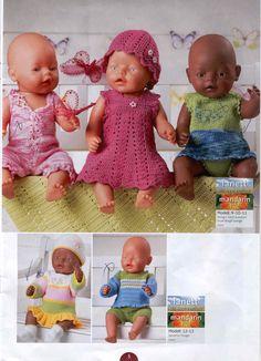 Albumarkiv - Baby Born Sandnes 0702 Knitted Doll Patterns, Knitted Dolls, Baby Knitting Patterns, Boy Baby Doll, Baby Dolls, Knit Crochet, Crochet Hats, Crochet Doll Clothes, Album