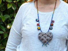 Ethnic Beaded Necklace With Pendant/Ethnic Tribal by BUDBEVUD