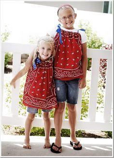 cute bandana tshirts--so easy--I think I could even do this, will post some pics soon hopefully