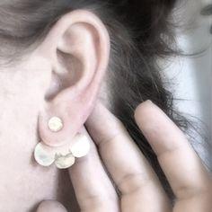 Petals // Sterling Silver Ear Jacket // Stud Earrings by MelanieAugustinArt on Etsy