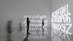 architect bjarke ingels has created a font that has been translated as lighting modules utilized either in straight or curved formats to spell out thoughts and words.