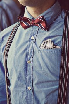 Interesting addition of a pocket square to the bow tie and braces