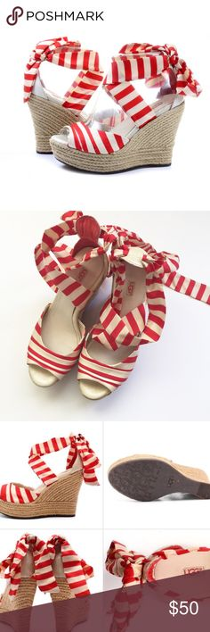"""Authentic Ugg Lucianna Striped Wedge UGG LUCIANNA TOMATO SOUP STRIPE 4 1/2"""" ANKLE WRAP WEDGE HEELS ~ NO BOX! NWOT  ~ STYLE# 1004566 ~RETAIL $ 150 COLOR: TOMATO SOUP AND CREAM Stripe silk ankle wrap/ tie Jute wrapped Platform wedge (total height measures 4 1/2"""", platform measures 1 1/2"""") Leather lined, leather insole with the UGG logo UGG logo cork infused rubber UGG Shoes Wedges"""