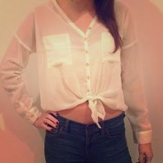 I just discovered this while shopping on Poshmark: Cream sheer long sleeved top. Check it out! Price: $14 Size: S