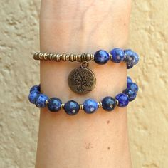 Rich blue sodalite wrap bracelet with Tree of life charm.