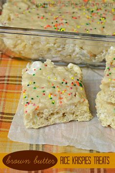 Brown Butter Rice Krispies Treats   A twist on every kids favorite treat.  Crunchy rice cereal with creamy marshmallow all swirled around brown butter. #dessert #food #foodie #recipes #ladybehindthecurtain