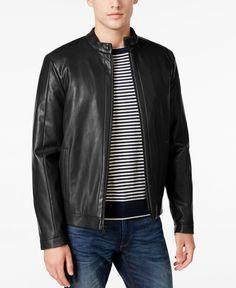 804e102eb1 Calvin Klein Men s Faux-Leather Moto Jacket Men - Coats   Jackets - Macy s