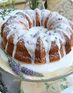 Lavender Lemon Pudding Cake