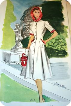McCall The Famous Hooded Princess Dress 1940s Fashion, Fashion Art, Fashion Beauty, Tweed Ride, Military Looks, Magazine Illustration, Hooded Dress, 1940s Dresses, Contemporary Fashion