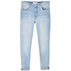MANGO Soho skinny jeans ($60) ❤ liked on Polyvore featuring jeans, pants, bottoms, trousers, high waisted jeans, blue jeans, cuffed jeans, skinny jeans and denim skinny jeans