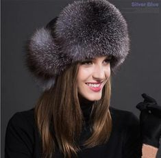 40ecba41fb4 Womens Ladies Real Fox Fur Hat Russian Lamb Leather Top Warm Winter Leather