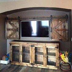 Easy diy rustic home decor ideas on a budget - DIY Möbel Living Room Tv Wall, Living Room Decor, Wall Tv, Shelf Wall, Wall Wood, Wood Walls, Western Style, Western Decor, Western Living Rooms