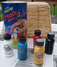 I first became aware of Plasti Dip from a House Beautiful article featuring Hardware Store Design Products . Plasti Dip is a synthetic rubb. Crafts To Make, Easy Crafts, Arts And Crafts, Plastic Baskets, Fanta Can, Craft Organization, Store Design, Decorating Tips, Dips