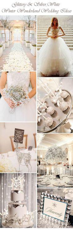 So pretty ... glittery & silver white winter wonderland wedding inspiration