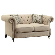 Coaster Trivellato Traditional Button Tufted Loveseat with Large Rolled Arms and Nailheads - Coaster Fine Furniture