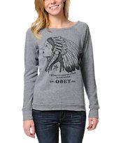 Obey Good Relation To Earth Grey Crew Neck Sweatshirt