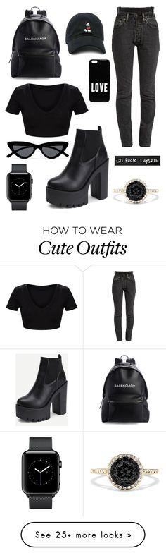"""""""u cute"""" by sashalisnevsky on Polyvore featuring Balenciaga, Forever 21, Vetements, Givenchy, Le Specs, RIPNDIP, Effy Jewelry and allblackoutfit"""