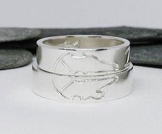 WEDDING BAND SET. Handwriting. Star Wars Wedding rings set. Custom Wedding rings.