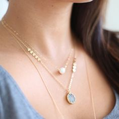 Silver Druzy Necklace - shimmering titanium druzy pendant with dotted14k gold filled chain