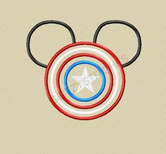 Captain America Mouse Head Applique, Whatchya think @Mercy Breanne?