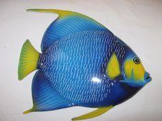 Large Blue ceramic fish wall plaque, Italian hand painted, from Sorrento Pretty Fish, Fish Wall Art, Ceramic Fish, Sorrento, Wall Plaques, Hand Painted, Ceramics, Blue, Ceramica