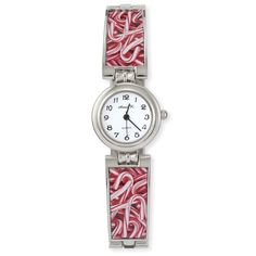 Silverplated Candy Cane Quartz Watch - Fashion Jewelry, Sterling, Gemstones, Pearls, Earrings, Necklaces, Rings & Bracelets