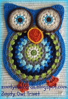 Zooty Owl Trivets:   Pattern