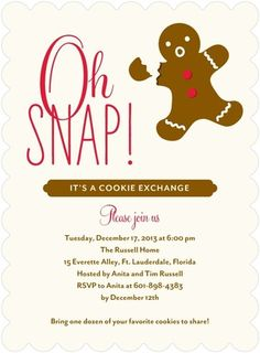 How cute is this?! Oh, Snap gingerbread holiday party invitation in brown and red. #tinyprintscheer