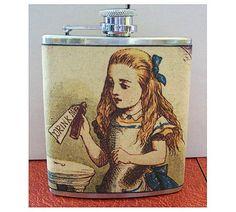 Alice in Wonderland flask white rabbit retro vintage fairy tale victorian fantasy