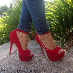 Red Heels with Gold Chain