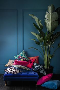 There's nothing like a pile of statement cushions to transform a tired space - we're mixing and clashing deco, oriental and bold floral prints in rich jewel tones. Jewel Tone Room, Jewel Tone Decor, Jewel Tones, Jewel Tone Colors, Colours, Interior Inspiration, Room Inspiration, Living Room Decor, Bedroom Decor