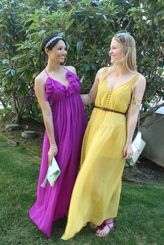 Maxi Dresses and Jennifer Behr headbands! :: sparkle :: maxi dresses :: bright colors :: grecian dress :: purple :: yellow :: boho ::