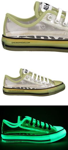 Function: comfy, definitely night out, casual. Style/aesthetics: cool, glow in the dark, sort of transparent in the light, lace up shoes, bright green colour, thick sole. Materials: fabric rim, fabric laces, transparent rubber on base, rubber on sole and toe.  Target market: teenagers- 20 and 30 year olds.