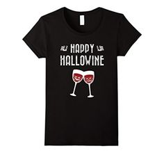 Women's Happy Hallowine Funny Wine Drinking Halloween T-Shirt Unisex Medium Black - Brought to you by Avarsha.com
