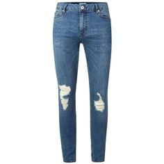 TOPMAN Mid Wash Blue Ripped Spray On Skinny Jeans (165 BRL) ❤ liked on Polyvore featuring men's fashion, men's clothing, men's jeans, blue, mens distressed jeans, mens blue skinny jeans, mens torn jeans, mens ripped jeans and mens skinny jeans