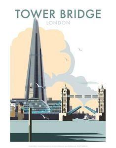Tower Bridge - Dave Thompson Contemporary Travel Print Kunstdruk