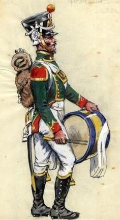 French; Imperial Guard Flanquers Drummer, 1815. Young Guard.: