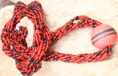 Red and Black Bead Necklace Red Neclace Beaded by AfrowearHouse