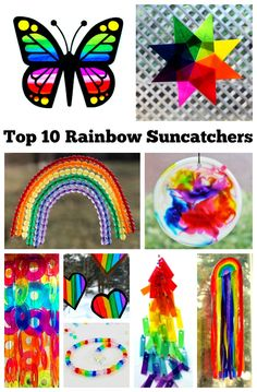 Rainbow suncatchers are a wonderful way to add a splash of color to your view any time of year. Click through to find a gorgeous collection of rainbow suncatchers to choose from. Make one to brighten your day! Rainbow Craft | Suncatcher | Saint Patrick's Day | Rainbow Birthday Party | DIY Project | Kids Craft