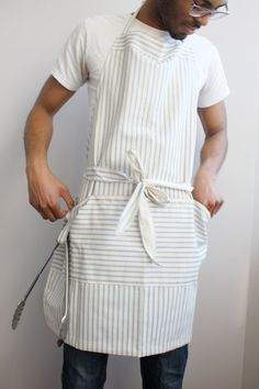 Large mens apron navy striped by SSatHome on Etsy, $35.00  look under canvas mens apron