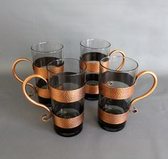 Copper Handled Glasses, Smoked Glass, Copper Sleeves, Bar Glasses