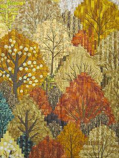 mazi chan, autumn tree, autumn leaves, tokyo quilt, quilt festiv, log cabins, fall trees, bargello quilts, festiv 2012