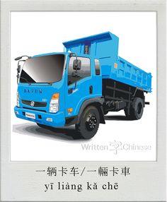 一辆卡车/一輛卡車 (yī liàng kǎ chē): Truck
