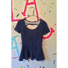 polka dot peplum top super cute & in perfect condition ! has a heart shaped open back Kirra Tops Tees - Short Sleeve