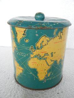 ~ Original, rare, vintage MB2 Britannia Biscuits Tin Box with World map, bottom mark