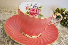 Aynsley Tea Cup and Saucer Coral Pink Swirl by PinkDahliaStudio, $24.00