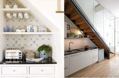 Diy storage ideas for small spaces The space under the stairs can use as kitchen. Lovely idea.