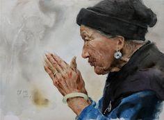 Guan Weixing's Watercolor-Prayer